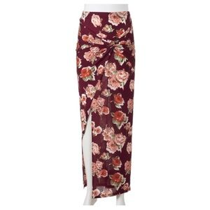Floral Maxi Skirt with Twist Tie Knot